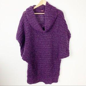 Free People cowl neck sweater long purple M